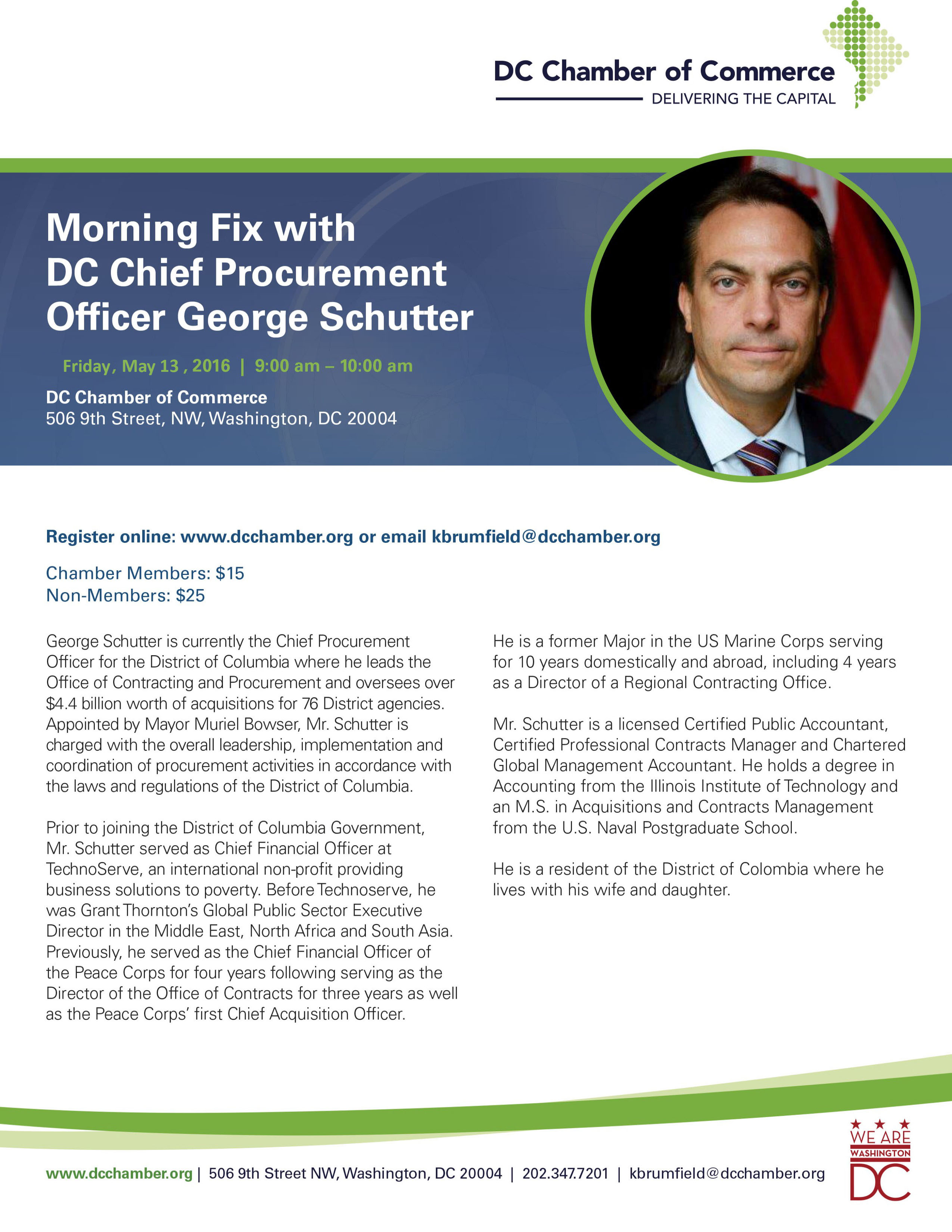 Morning Fix with DC Chief Procurement Officer George Schutter @ DC Chamber of Commerce | Washington | District of Columbia | United States
