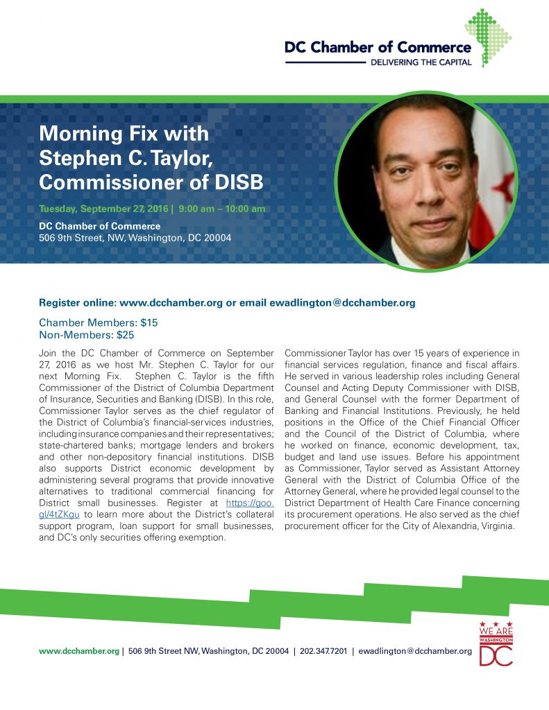 Morning Fix with Commissioner Taylor of DISB @ DC Chamber of Commerce | Washington | District of Columbia | United States