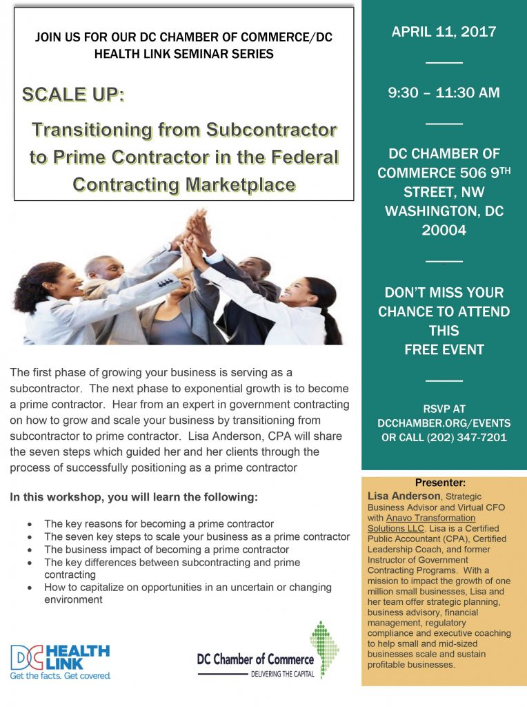 Transitioning from Subcontractor to Prime Contractor in the Federal Contracting Marketplace @ DC Chamber of Commerce | Washington | District of Columbia | United States