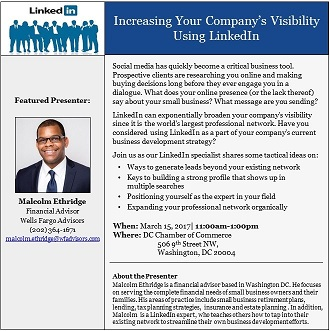 Lunch and Learn: Increasing Your Company's Online Visibility Using LinkedIn @ DC Chamber of Commerce | Washington | District of Columbia | United States