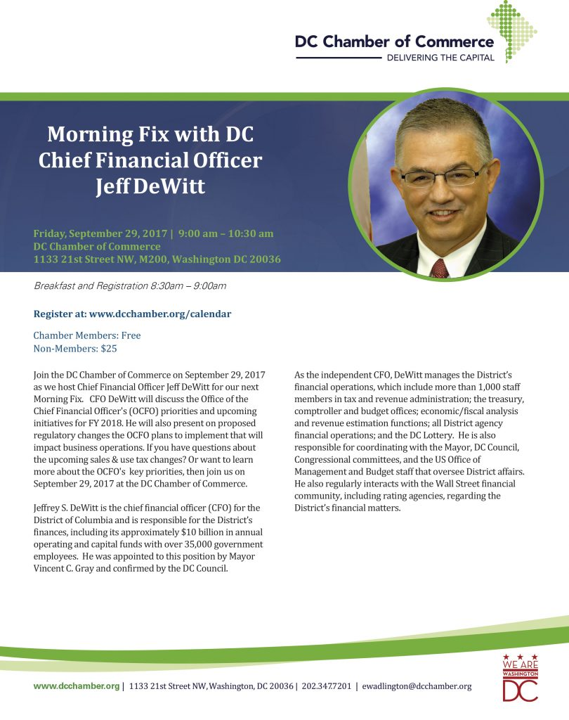 Morning Fix with DC Chief Financial Officer Jeff DeWitt @ DC Chamber Of Commerce | Washington | District of Columbia | United States