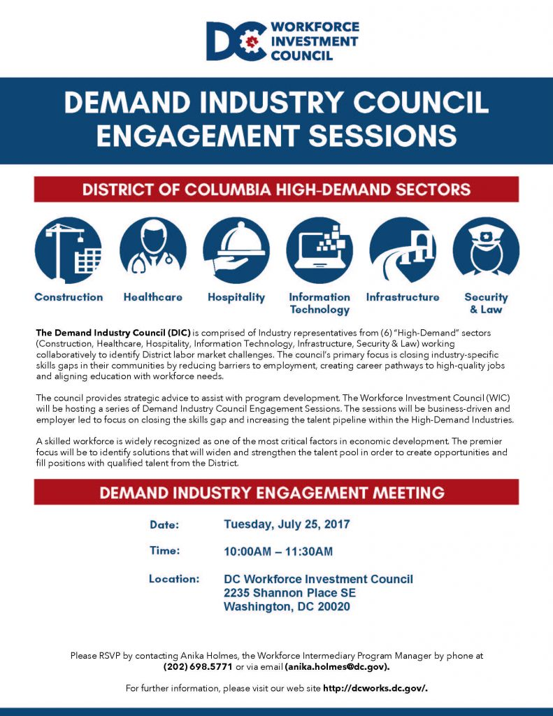 DEMAND INDUSTRY ENGAGEMENT MEETING @ DC Workforce Investment Council | Washington | District of Columbia | United States