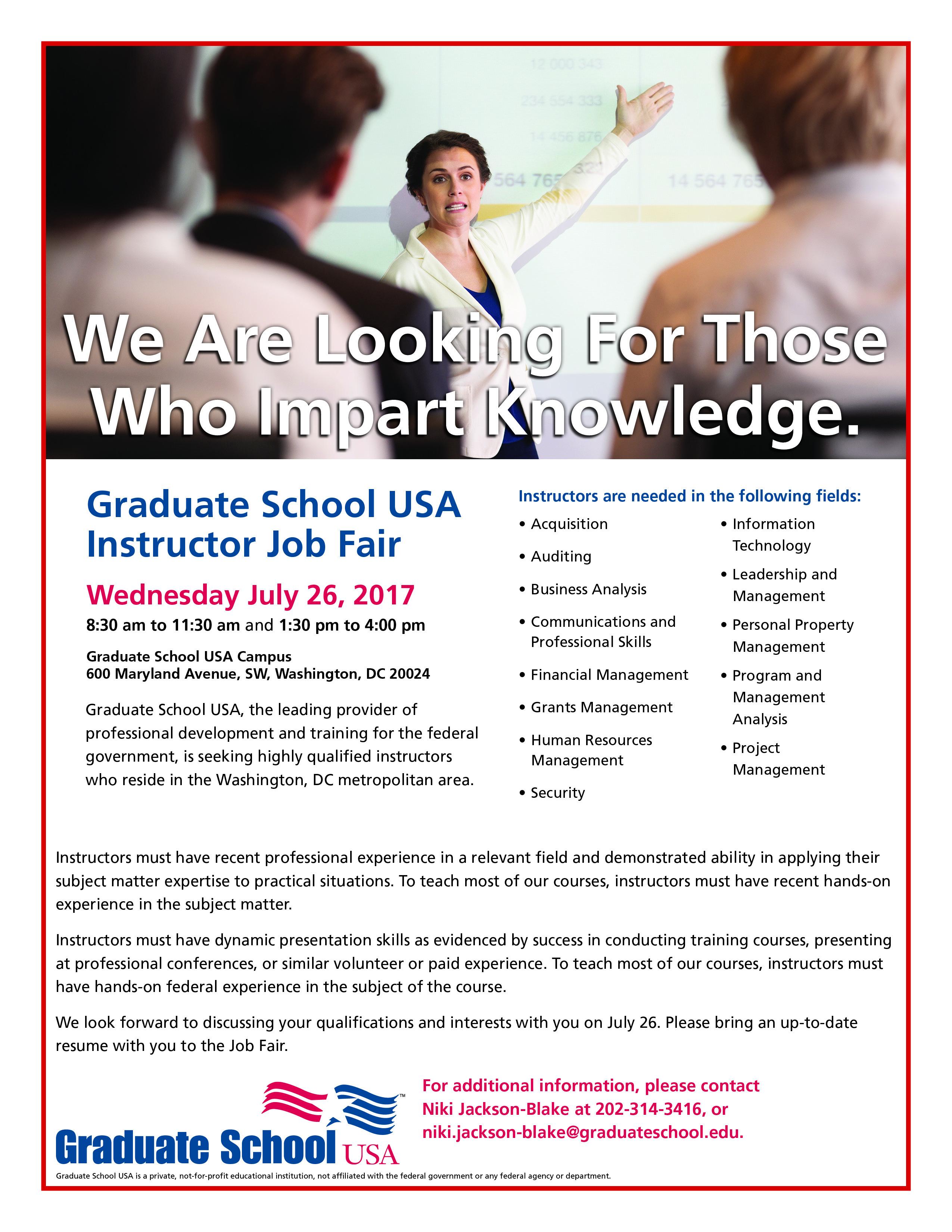Graduate School Instructor Job Fair @ Graduate School USA | Washington | District of Columbia | United States