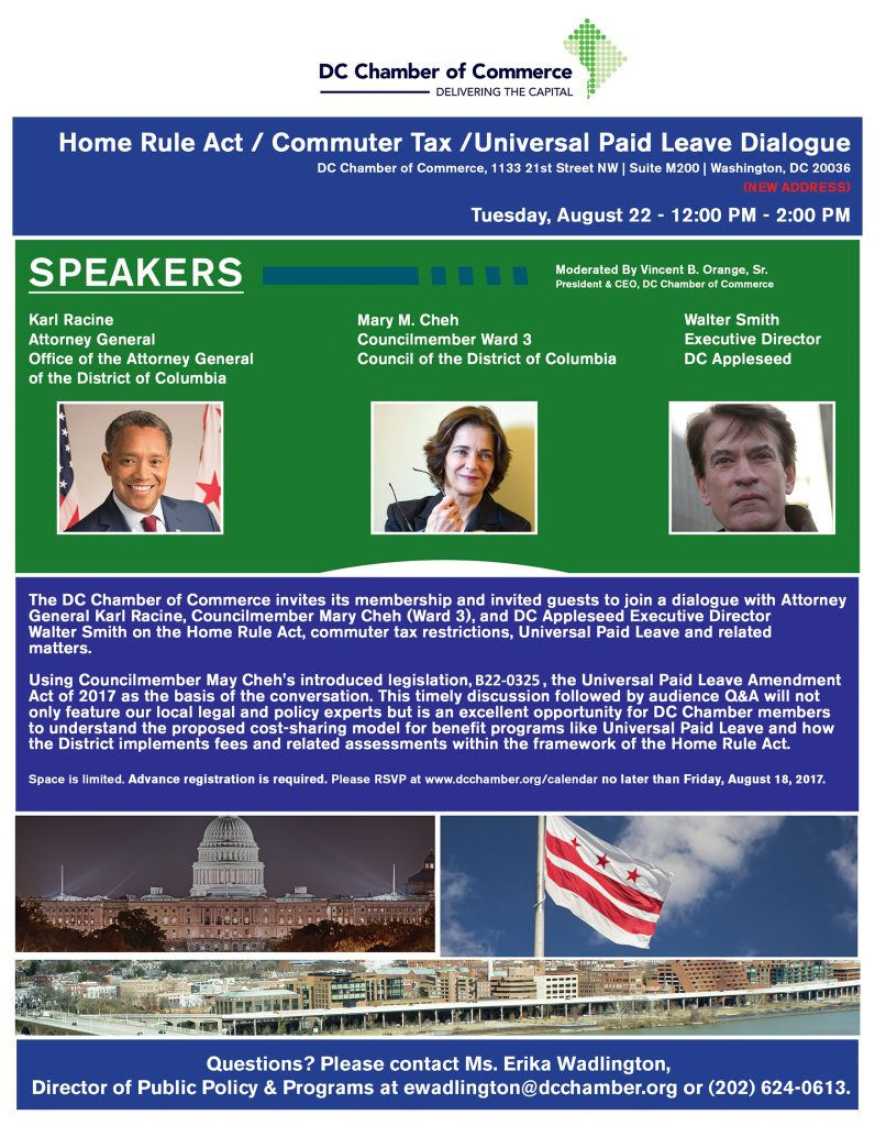 Home Rule Act / Commuter Taxes Panel and Dialogue @ DC Chamber of Commerce | Washington | District of Columbia | United States