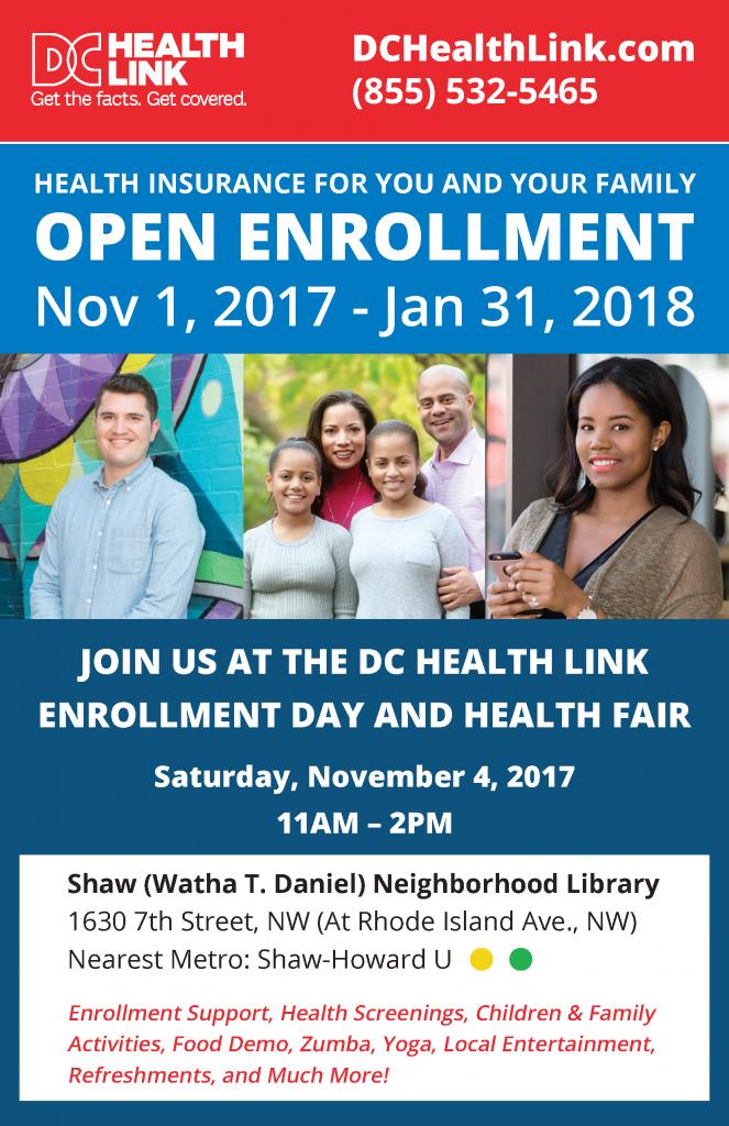DC Health Link Enrollment Day and Health Fair @ Shaw (Watha T. Daniel) Neighborhood Library   Washington   District of Columbia   United States