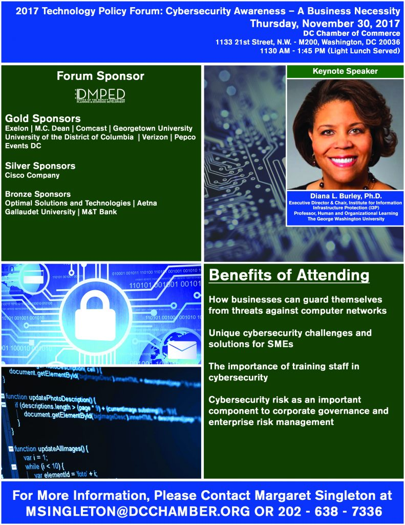 2017 Technology Policy Forum:  Cybersecurity Awareness – A Business Necessity @ DC Chamber of Commerce   Washington   District of Columbia   United States